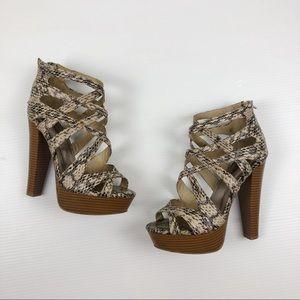 Womens Strappy Snakeskin Wooden PlatformHigh Heels